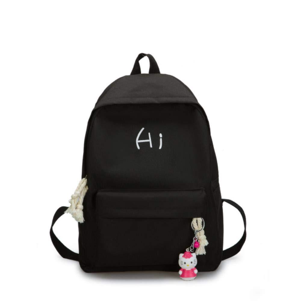 Canvas donna zaino school bags per ragazza rosa college style alta studentessa borsa Borse ricamate simpatiche per la scuola-Nero