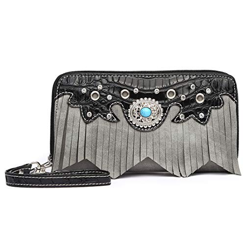 (Western Style Fringe Classic Concho Studded Women Wristlet Wallet Clutch Purse)