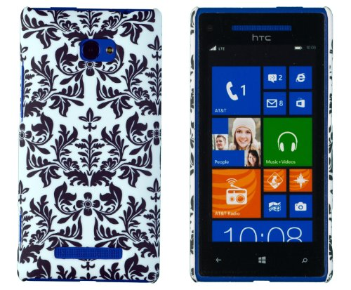 Embossed Print Slim Fit Hard Case for HTC Windows Phone 8X (AT&T, T-Mobile, Verizon) - Includes DandyCase Keychain Screen Cleaner [Retail Packaging by DandyCase] (Black Flower)