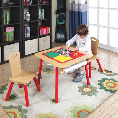 O'Kids 4-in-1 Flip Top Multi-Function Wooden Activity Table and Chair Set, Multicolor