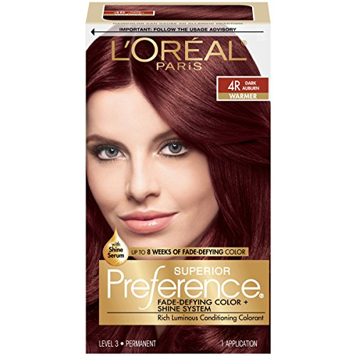 Hair Coloring System (L'Oreal Paris Superior Preference Fade-Defying Color + Shine System, 4R Dark Auburn(Packaging May)