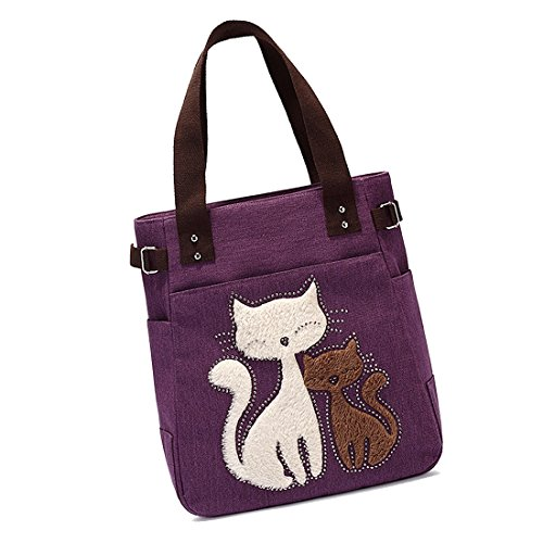 bag Purple cat Women's messenger canvas small bag Women's TOOGOO cute R handbag with handbag shoulder shopping AawFA0qvZS