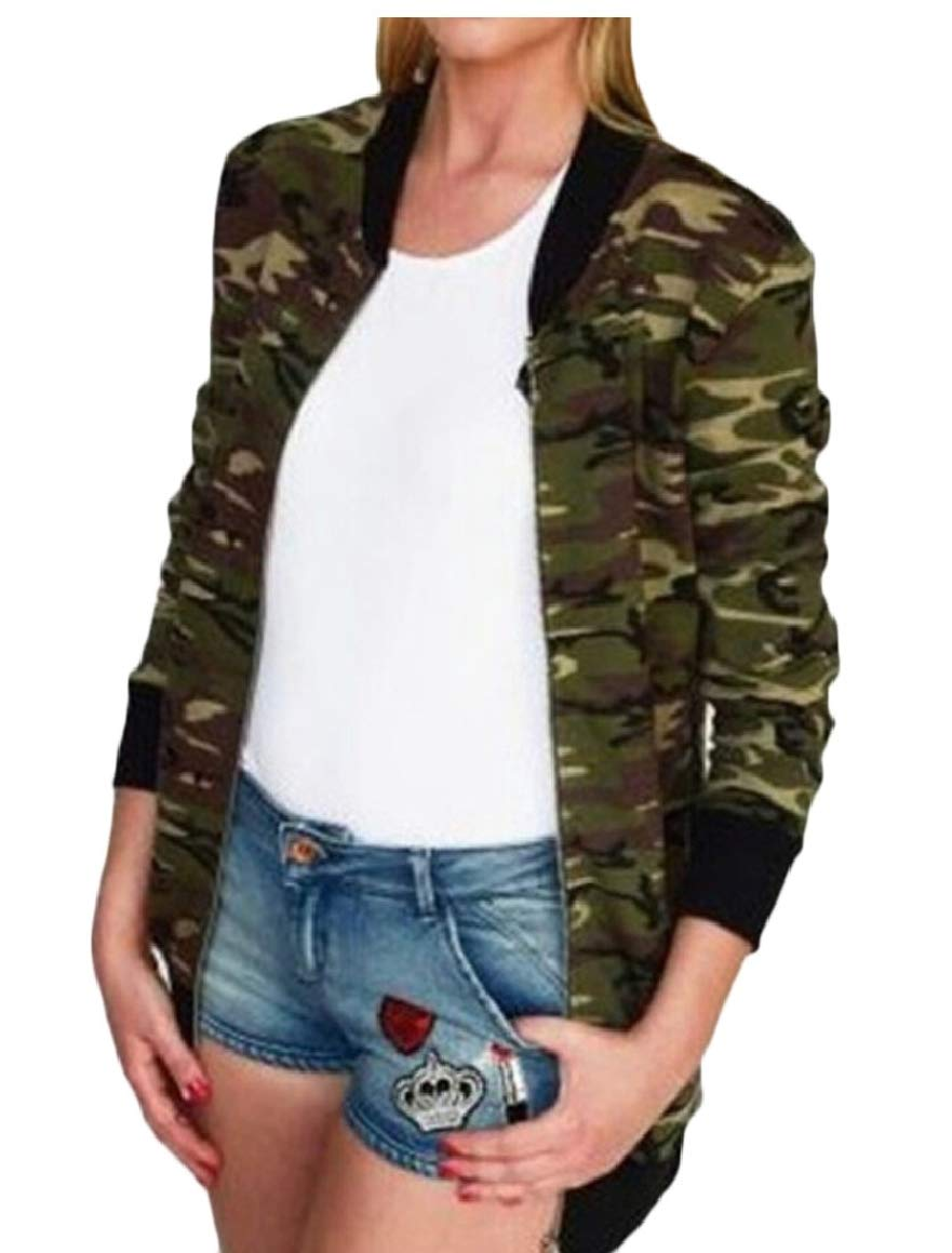 ouxiuli Women's Long Sleeves Outwear Slim Soft Zipper Camoflage Short Coat