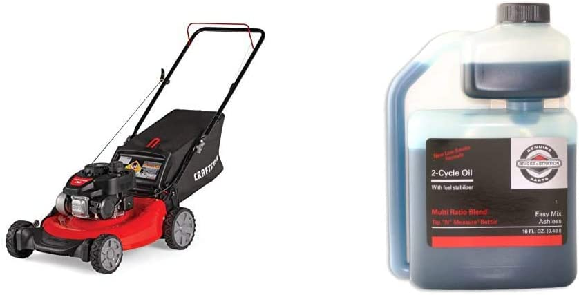 Craftsman M105 140cc 21-Inch 3-in-1 Gas Powered Push Lawn Mower with Bagger, 1-in & Briggs & Stratton 2-Cycle Easy Mix Motor Oil - 16 Oz. 100036