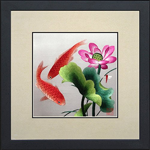 King Silk Art 100% Handmade Embroidery Framed Two Japanese Red Koi & Pink Lotus Water Lily Oriental Wall Hanging Art Asian Decoration Tapestry Artwork Picture Gifts -