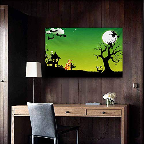 duommhome Halloween Simulation Oil Painting Witches Dancing with Fire and Flying at Halloween Ancient Western Horror Image Decorative Painted Sofa Background Wall 35