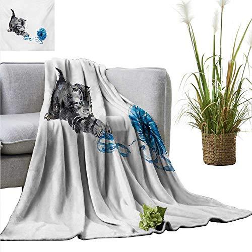 BelleAckerman Swaddle Blanket Cat,Playful Baby Kitten with Ball of Yarn Furry Animal Domestic Feline Kids Pets Artwork,Grey Blue Lightweight Extra Soft Skin Fabric Not Allergic 60