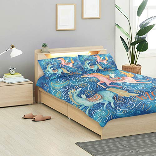 (IDO Art Painted Wing Horse Kids Bedding Comforter Cover Sets Ultra Soft Crystal Velvet Cotton Satin Hotel Collection-Decorative 3 Piece Bedding Set with 2 Pillow Shams, Multicolor)