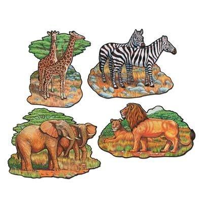 Beistle 55553 4-Pack Zoo Animal Cutouts, 16-Inch - Animal Kingdom Safari