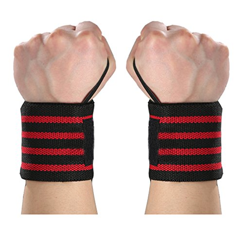 Weight Lifting Wrist Power Wraps Bandage - Luwint Strength Band Straps Support Brace with Thumb Loop for Fitness Workout Kayaking Tennis, 1 Pair