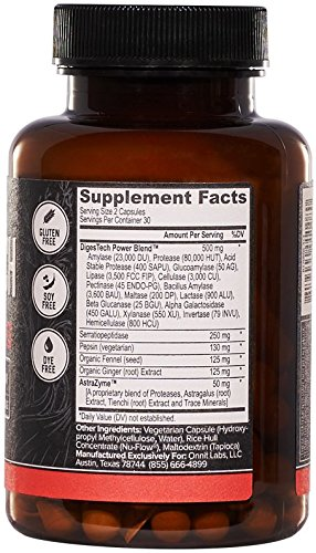 Onnit Labs Digestech Professional Grade All-Natural Digestive Enzymes Supplement, 60 Count