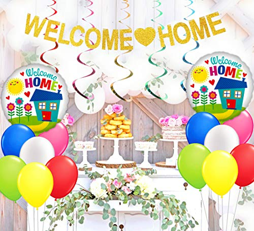 KREATWOW Welcome Home Decorations Welcome Home Banner Balloons Plastic Swirl for Home Decoration Family Party Supplies