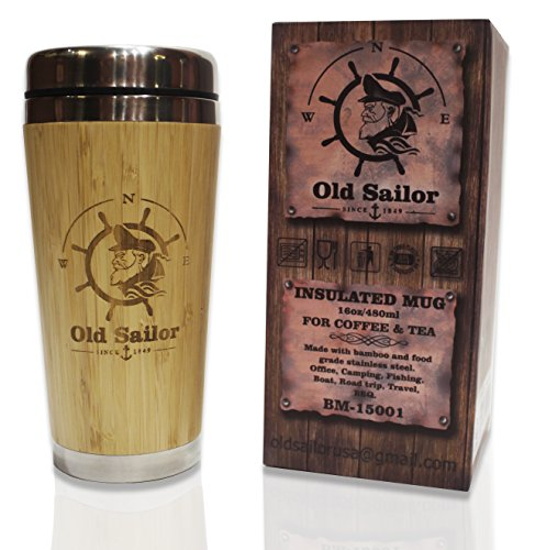 OLD SAILOR 16 oz Travel Mug, Thermal Coffee & Tea Cup, Doubl