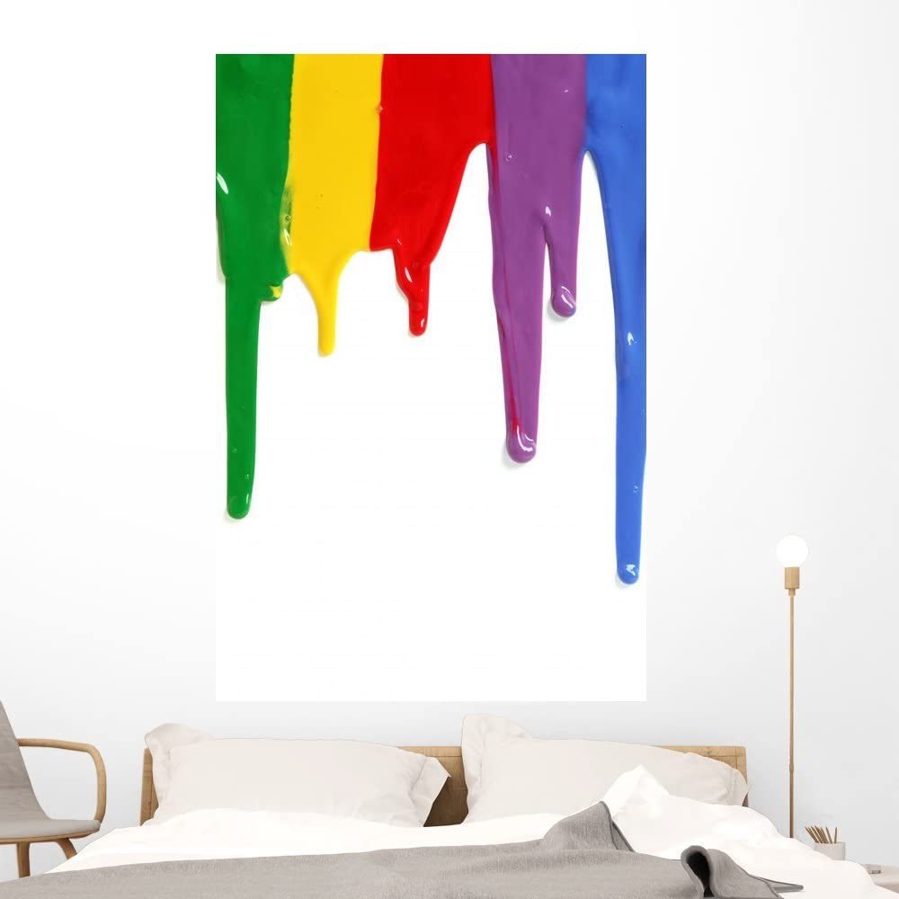 Wallmonkeys Rainbow Paint Dripping Wall Decal Peel And Stick Decals For Girls 60 In H X 40 In W Wm414899 Furniture Decor