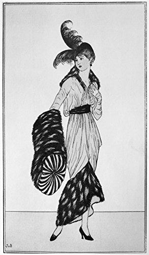 Fashion: Woman, 1913. /na Woman With A Feather Hat, Fur Muff And Fur-accented Dress. Mode: Femme, 1913. / Na Femme Avec Un Chapeau De Plumes, De Fourrure Et Muff Robe De Fourrure Accentuée. French Drawing, 1913. Poster Print By (18 X 24) Dessin Français, 1913. Impression Affiche Par (18 X 24)