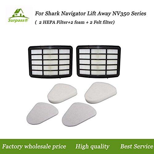 2 HEPA Filter + 2 Foam Flet Filter Kit for Shark Navigator Life Away XFF350 XHF350 NV350 NV351 NV352 NV355 NV356 NV356E NV357 NV360 NV370 NVLFT199 UV440 NV350A NV350E