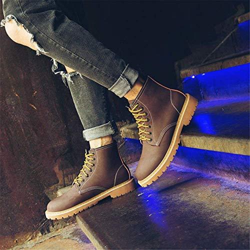 Hombre Ocio Shuankle Exterior Marrón Colisión Alta Moda Cerdo De Redonda Juventud Tamaño Piel Antideslizante Botas Negro Duradero Punta Para 42 Suave Suela Cuero Color Zapatos Eu qTwdpXE
