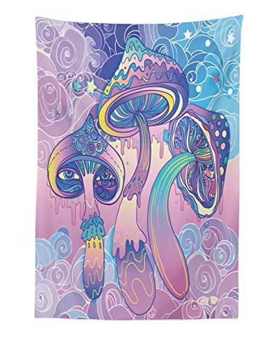 Lunarable Mushroom Tapestry, Trippy Drawing Hippie Design Sixties Visionary Psychedelic Shamanic, Fabric Wall Hanging Decor for Bedroom Living Room Dorm, 30 W X 45 L inches, Aqua Pale Pink Purple