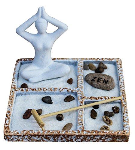 - Royal Brands Zen Garden Deluxe Desk Meditation Garden Yoga Style Statue, Sands, Rocks, and Rake - Peace & Tranquility