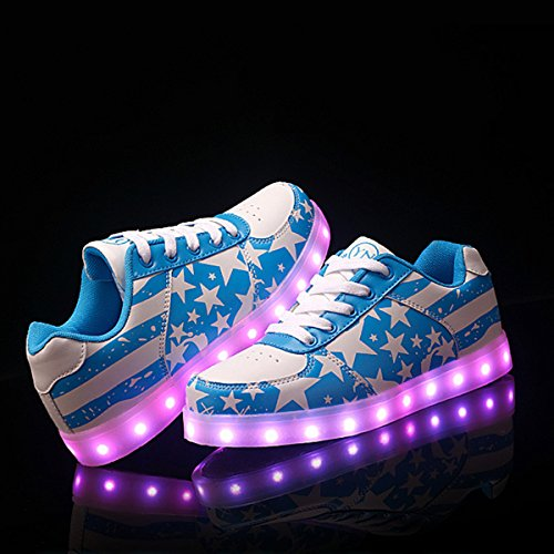 DoGeek Unisex 7 Colors USB Carga Luz Luminosas Flash LED Zapatos Zapatillas de Deporte para Hombres Mujeres Blanco (Elegir 1 tamaño más Grande): Amazon.es: ...