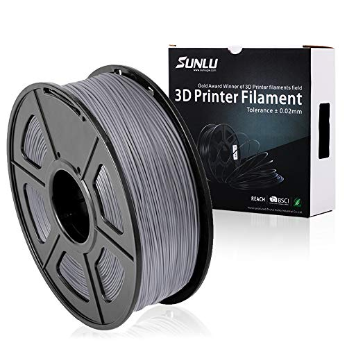 SUNLU PLA Plus 3D Printer Filament - 1KG(335m/1099ft) 1.75mm, Dimensional Accuracy +/- 0.02 mm, 1KG(2.2LBS) Spool 1.75 mm, Grey