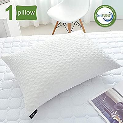 SORMAG Bed Pillows for Sleeping, Adjustable Shredded Memory Foam Pillow, Cooling Bamboo Pillow Neck Support for Back, Stomach, Side Sleepers-Queen Size by SORMAG