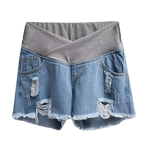 RIUDA Maternity Outdoor Pregnant Short Jeans Low-Rise Casual Elastic Band Waist Denim Shorts