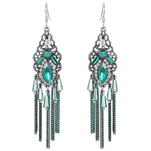 Stylebar Women Boho Hook Earrings Long Tassel Fringe Bohemian Emerald Color Crystal Chain Chandelier Retro Green Rhinestone Drop Earrings Vintage Silver Tone