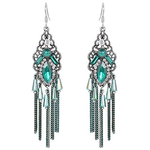 Stylebar Women Boho Hook Earrings Long Tassel Fringe Bohemian Emerald Color Crystal Chain Chandelier Retro Green Rhinestone Drop Earrings Vintage Silver Tone ()