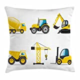 Boy's Room Throw Pillow Cushion Cover by Lunarable, Cartoon Heavy Machinery Truck Crane Digger Mixer Tractor Construction Print, Decorative Square Accent Pillow Case, 18 X 18 Inches, Black Yellow