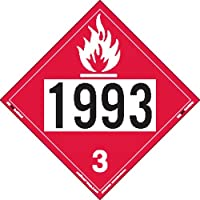 Labelmaster ZEZ21993 UN 1993 Flammable Liquid Hazmat Placard, E-Z Removable Vinyl (Pack of 25)