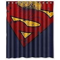 PRANO Marvel Comic Hero Superman Logo Badges Brown Unique Design Shower Curta...