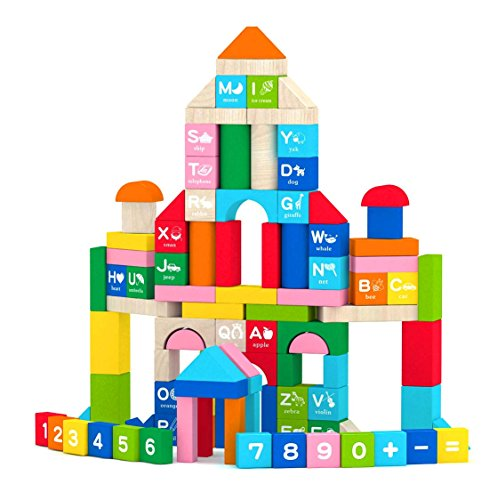 Joyin 100 Pieces Wooden Stacking Building Blocks Shape Color Sort Alphabet Number Wood Blocks Educational Toy Set in 8 Colors (Storage Bucket Included) Toy Abc Blocks
