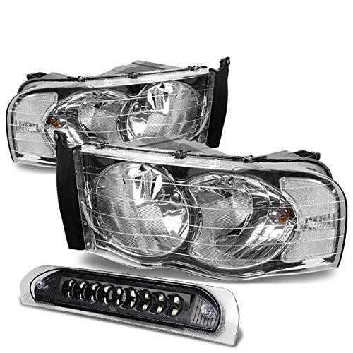 Dodge Ram Chrome Housing - For Dodge Ram Chrome Housing Headlight+Black Lens LED 3rd Brake Light - 3rd Gen DR/DH/D1/DC/DM