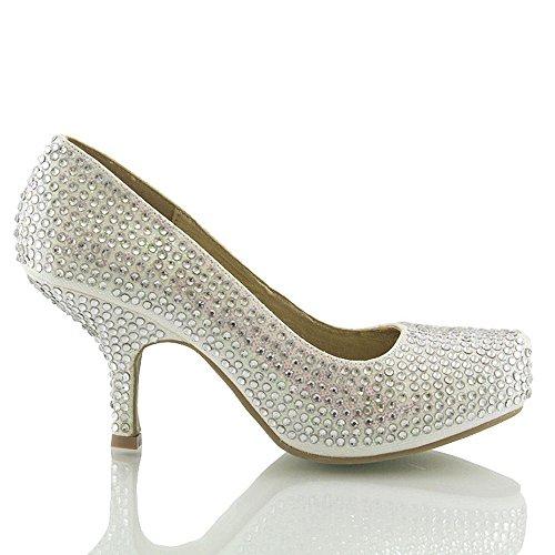 Essex Glam Kvinna Brud Klackar Satin Diamante Flimrigt Låg Klack Plattform Slip På Domstols Skor Vit Glitter