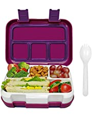 Frebw 4-Compartment Bento, Leak-proof Insulated Lunch Boxes with Spoon, Eco-Friendly Reusable BPA Free Food-Safe Materials, Travel-packing Food Storage Container for Men, Women, Adults, Kids (Purple)