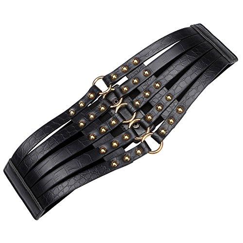 "Syuer Womens Faux Leather 5 Metal Rings Wide Waist Belt Elastic Waist Belt (X-Large (37""-43""), Black)"