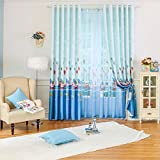 Cartoon Window Curtains for Children Bedroom,Blackout Blue Baby Kid Drapes Panel,Printing Boy Curtains Set Grommet 2 PCS,52 x 84 inch