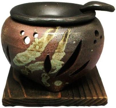 常滑焼・山房窯 カ39-04 茶香炉 杉板付 約φ11.5×9.5cm