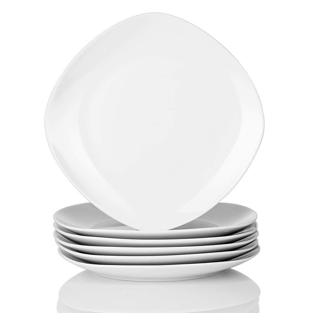 Malacasa, Series Elisa, 6-Piece 9.75' Cream White Ceramic Round Dinner Plates Porcelain Dessert Dishes Dinnerware Set (24.6x24.6x2.5cm) 6-Piece 9.75 Cream White Ceramic Round Dinner Plates Porcelain Dessert Dishes Dinnerware Set (24.6x24.6x2.5cm)