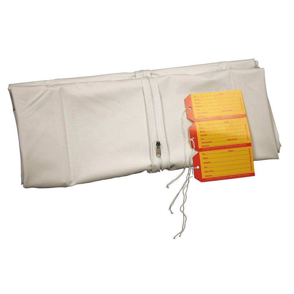 PDC Healthcare 55800-00-MBC 9.5 mil Vinyl Straight Zipper Adult Heavy-Duty Cadaver Bag, 3 I.D. Tags, 36'' x 90'' Size, White (Case of 10)
