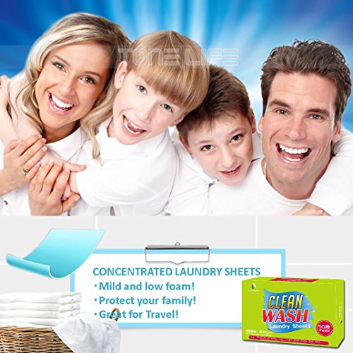 Tonelife 100 Sheets Scented Nano Technology Super Condensed Laundry Detergent Sheets 4-in-1 Laundry Pacs: Detergent, Stain Remover,Brightener.100 load Laundry Revolution by Tonelife (Image #5)
