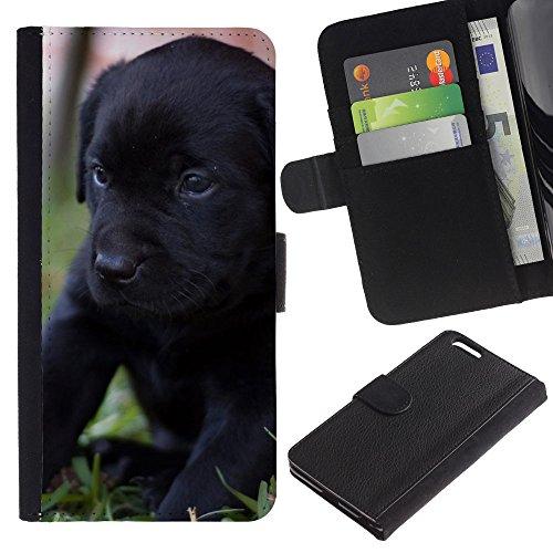OMEGA Case / Apple Iphone 6 PLUS 5.5 / black Labrador retriever puppy dog / Cuir PU Portefeuille Coverture Shell Armure Coque Coq Cas Etui Housse Case Cover Wallet Credit Card