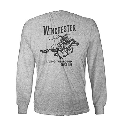 Official Winchester Mens Cotton Vintage Rider Graphic Printed Long Sleeve T-Shirt (Medium, Sport Grey)