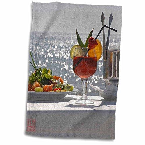 3dRose Nano Calvo Ibiza - Red and tasty summer cocktail with avocado and shrimps salad, Ibiza, Spain - 12x18 Hand Towel (twl_107588_1)