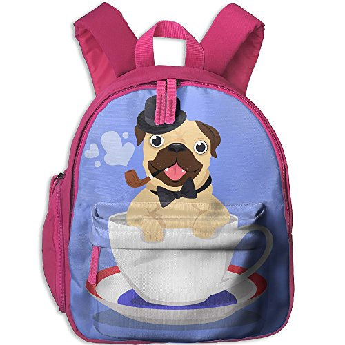 Mini Student School Bags Backpack Daypack Fashion With Elegant-pug-in-coffee-cup.JPG Super Bookbag Break For Children Boys Girls Pink