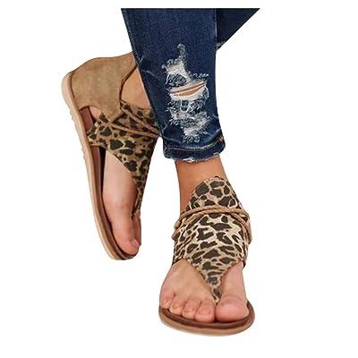 HIRIRI Vintage Women Summer Flat Heel Round Toe Back Zipper Sandals Leopard Printed Soft Slip On Beach Sandal: Clothing
