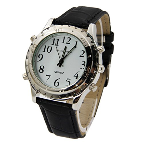 Hometom Men English Talking Watch for the Elderly or Blind or Visually Impaired - Black Braille Dial Watch