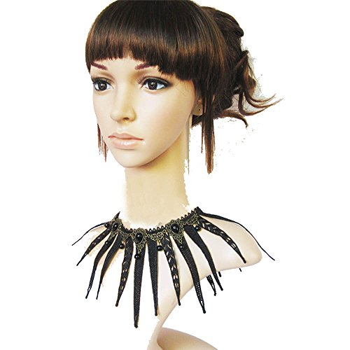 [Mr Rabbit Womens Retro Gothic Style Exaggerated Black Lace Multilayer Necklaces] (Dances With Wolves Costumes Designer)