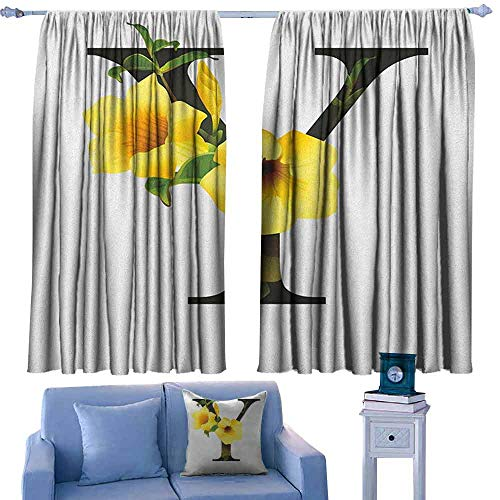 Scale 222 Bell - Mannwarehouse Letter Y Fashion Curtain Y Letter with Yellow Bell Flower Natural Representation in Abstract Design Suitable for Bedroom Living Room Study, etc.63 Wx45 L Yellow Green Black